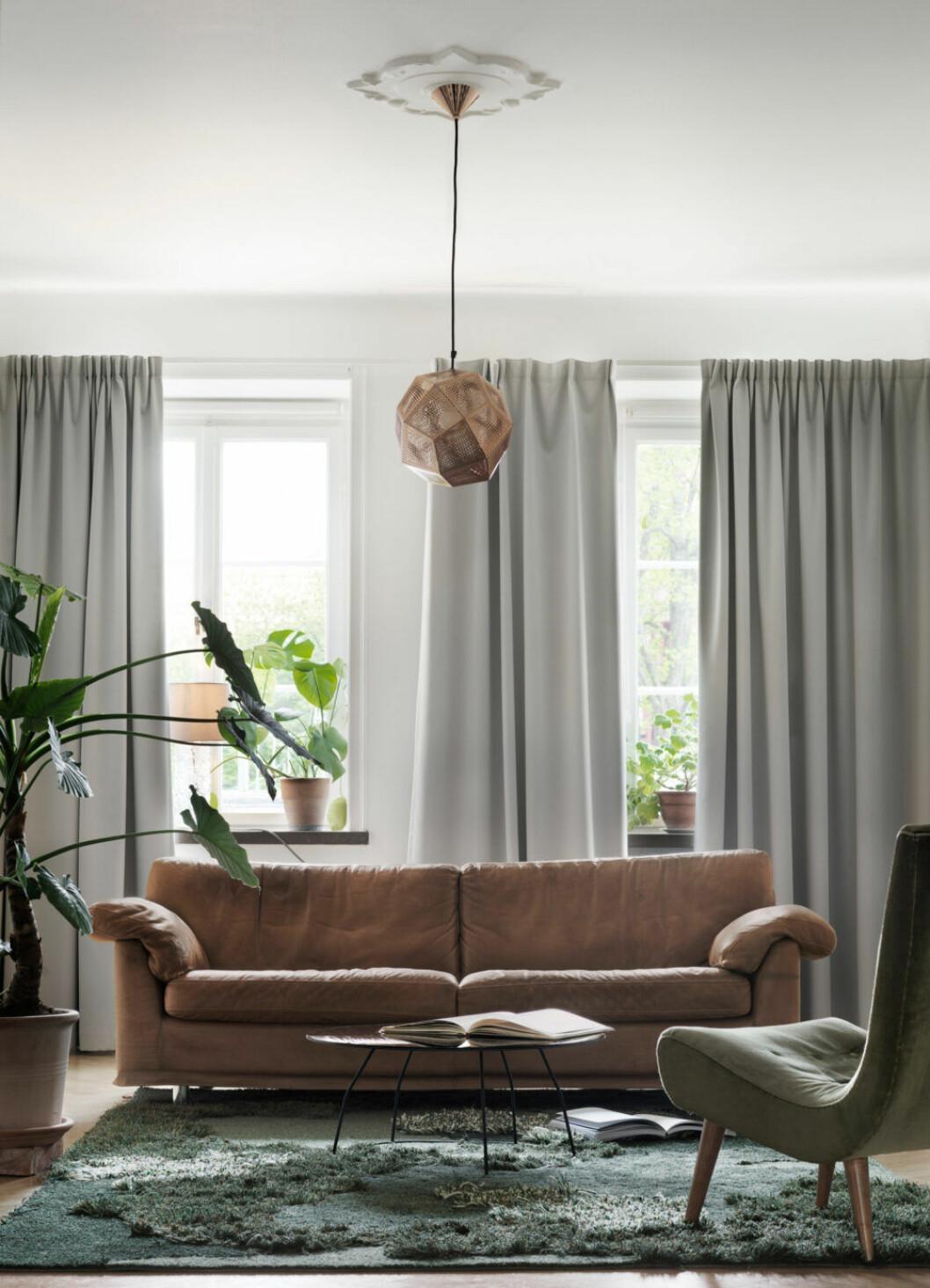 Brun soffa och gråa gardiner i lägenheten i Malmö
