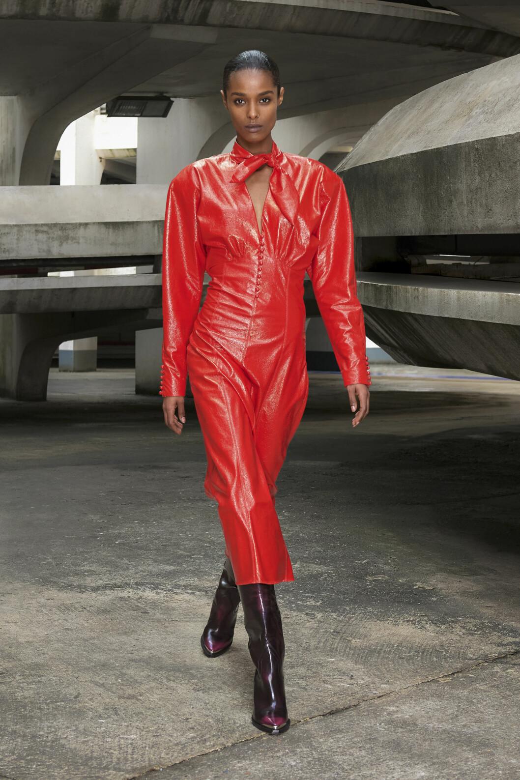 Röd läderklänning isabel Marant