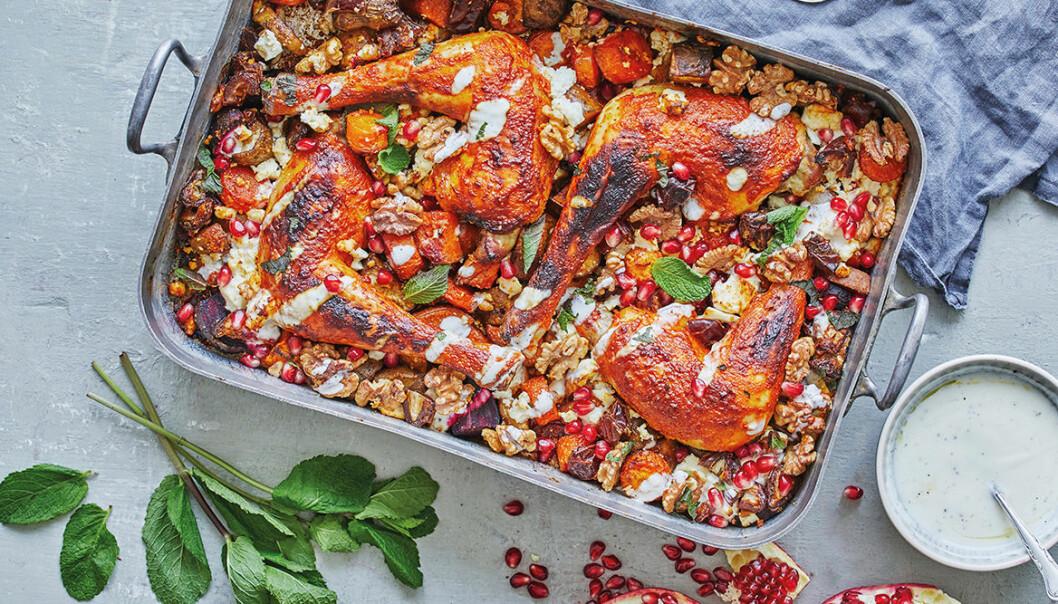 Recept på marockansk kyckling med rotfrukter
