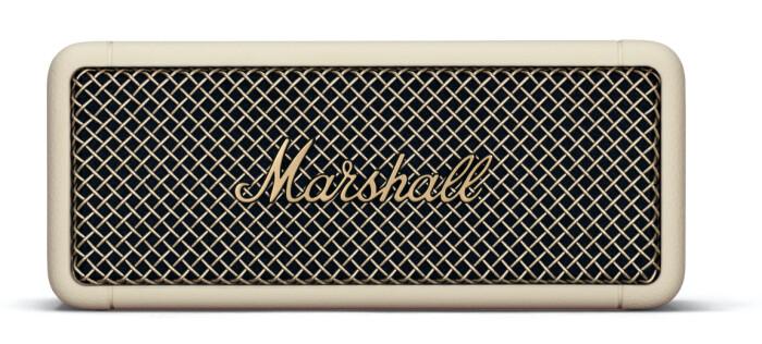 beige bärbar högtalare från Marsahll.