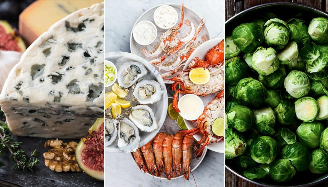 mögelost, skaldjur och brysselkål