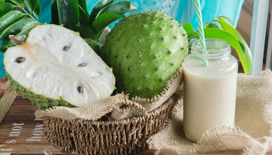 Så här ser frukten guanabana ut.