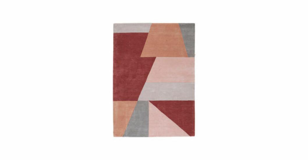 Blockmönstrad matta i rosa