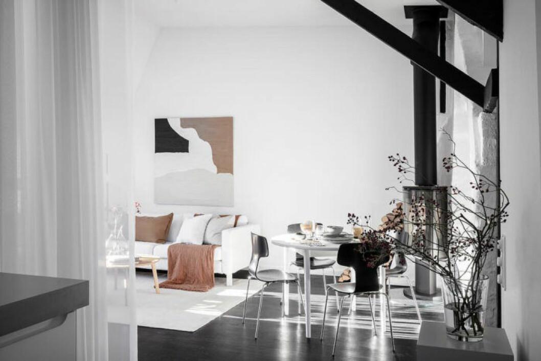 Rum med svartvit inredning