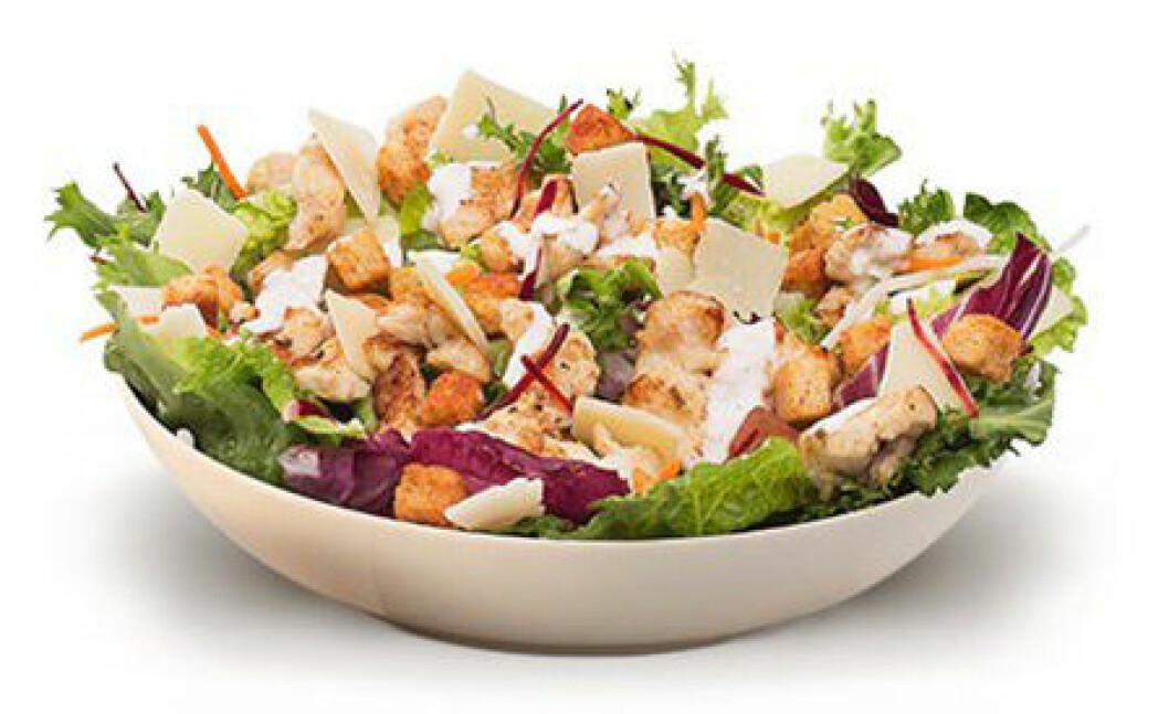Salladen innehåller mer fett än hamburgaren.