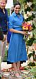Meghan Markle i en blå klänning från Veronica Beard