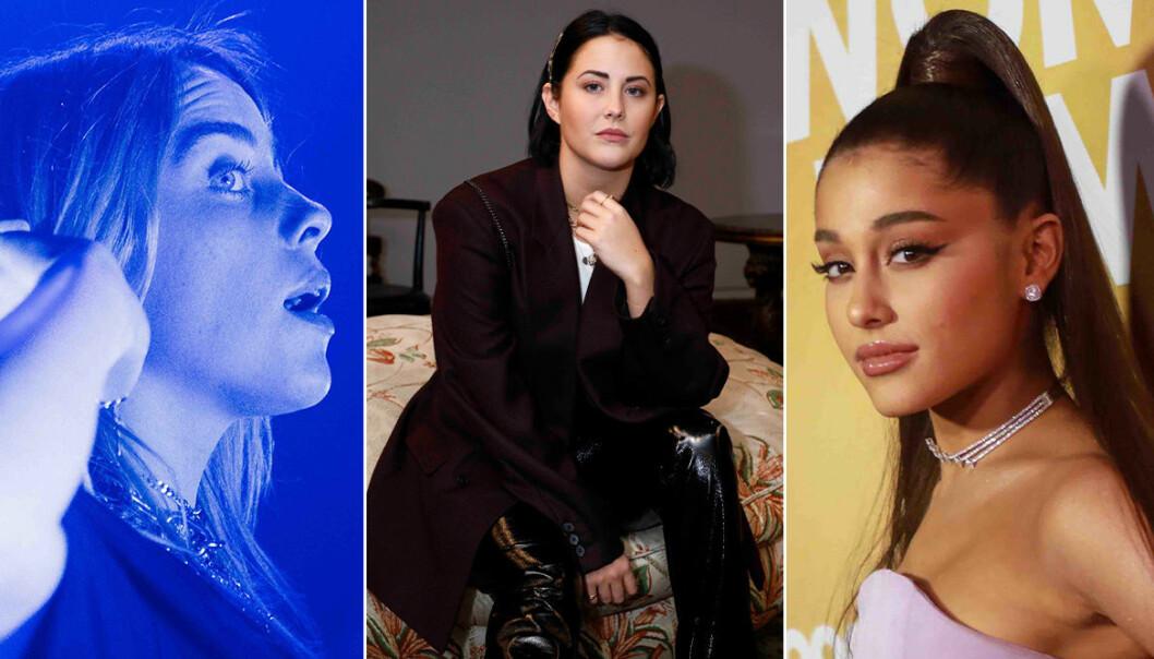 Billie Eilish, Molly Sandén och Ariana Grande som är vällyssnade kvinnor på Spotify.