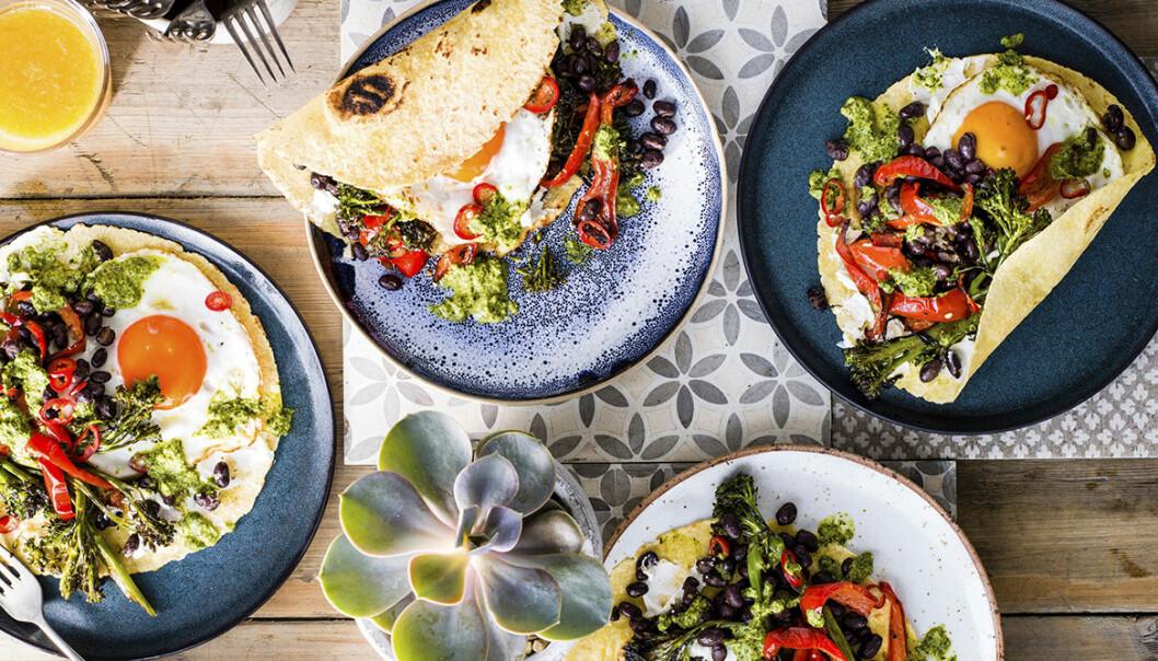 Recept på mexikanska tortillas med broccoli och ägg