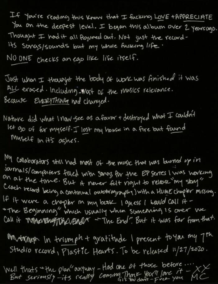 Miley Cyrus brev