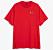 Röd t-shirt i lös modell med hundtryck på.