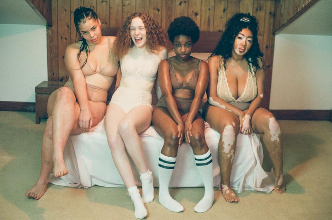 Kroppspositiva modeller i spetsunderkläder från Monki.