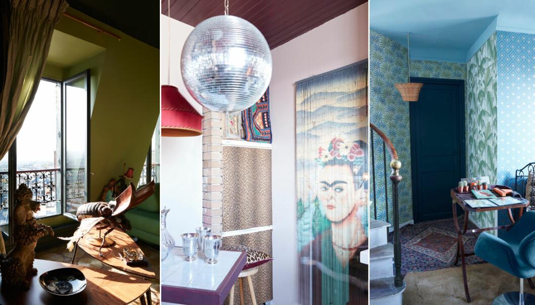 Färgstarkt och personligt hem i Paris