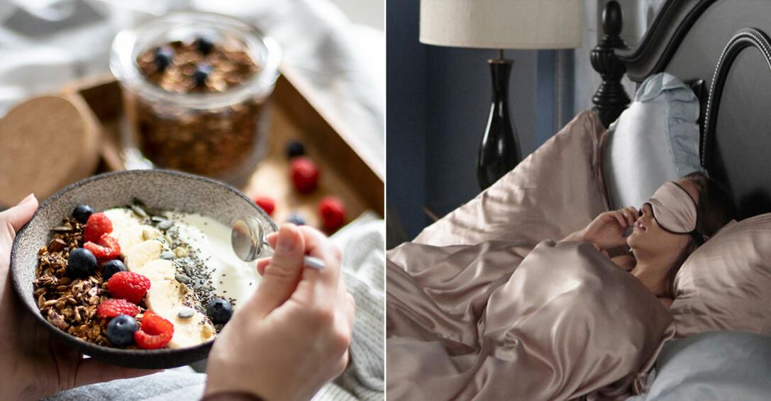 frukost, kvinna i sängen som pratar i telefon