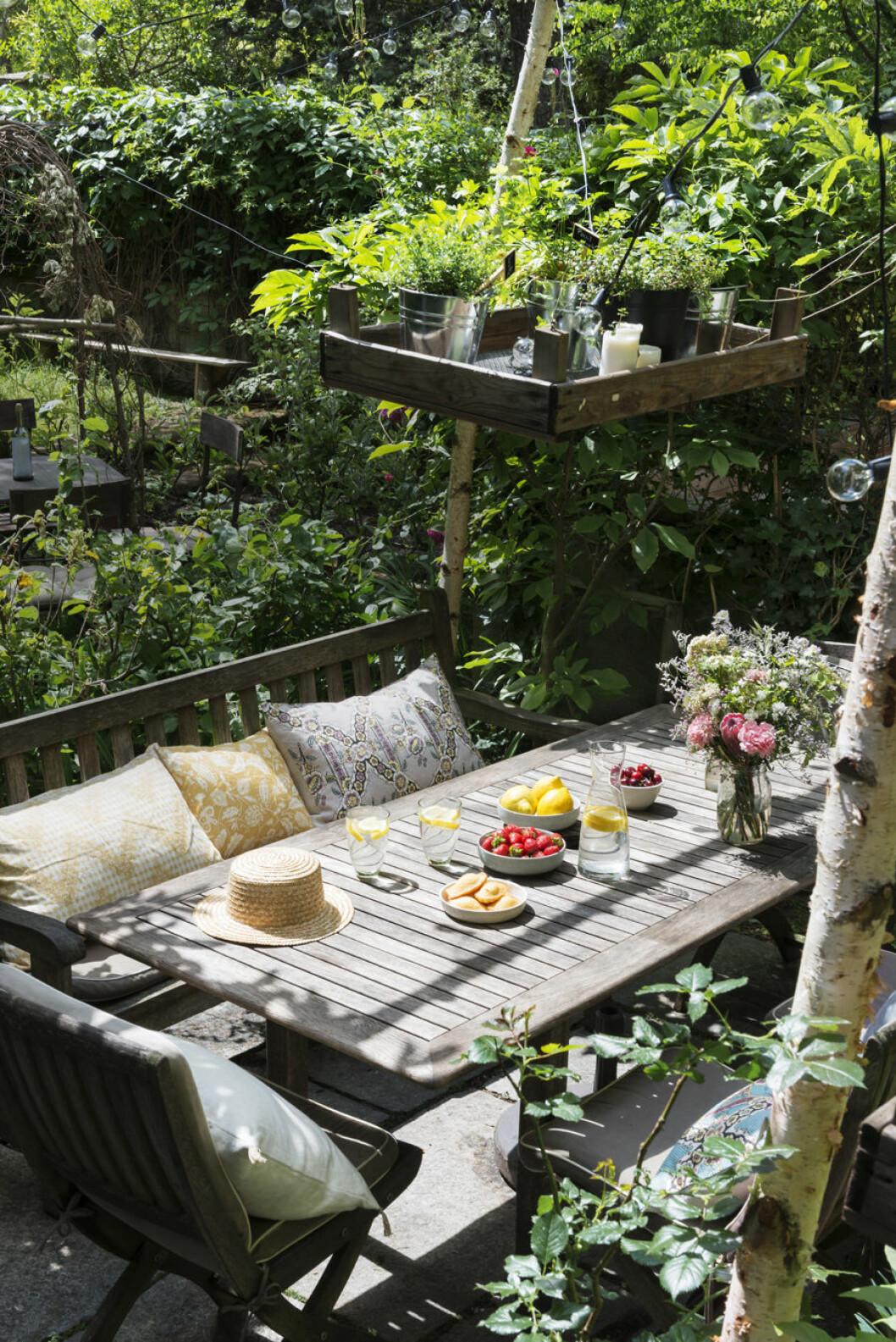 vacker trädgård med bohemisk uteplats