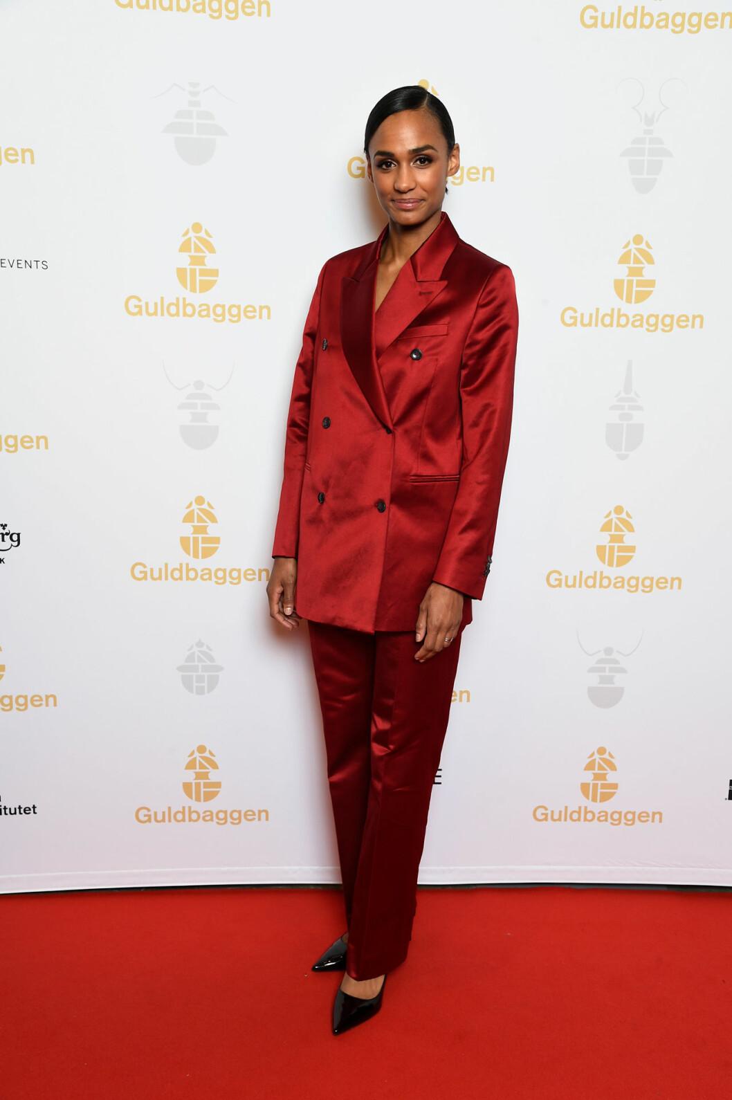 Nanna Blondell på röda mattan på Guldbaggegalan 2020