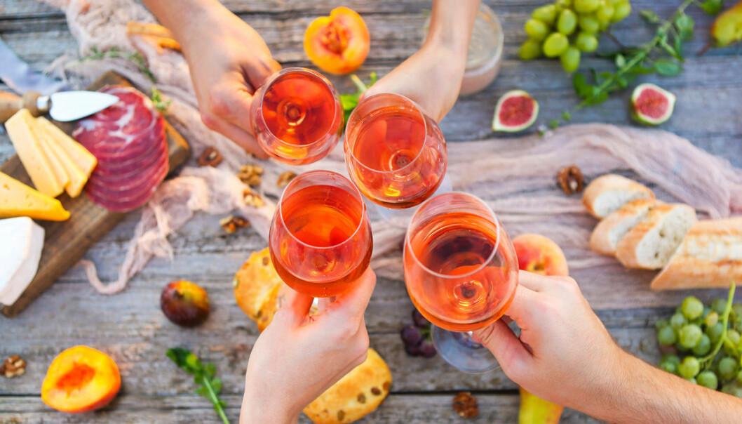 Gäng som dricker vin med tilltugg
