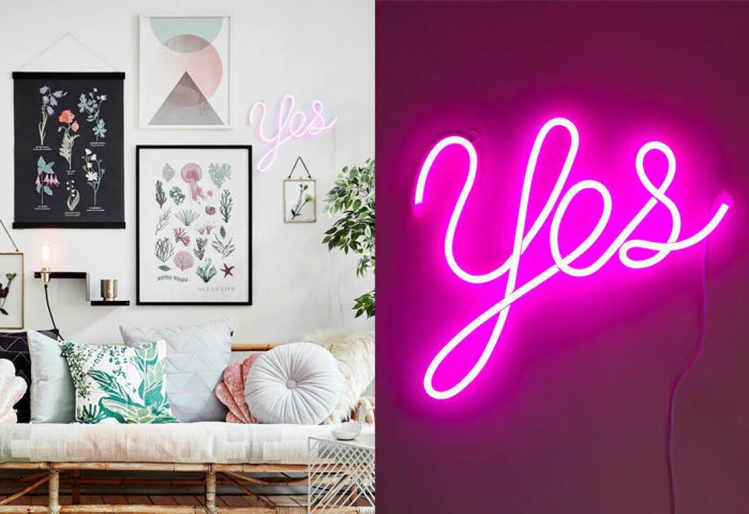 """Neonlampa med texten """"Yes"""" i rosa från Lagerhaus"""