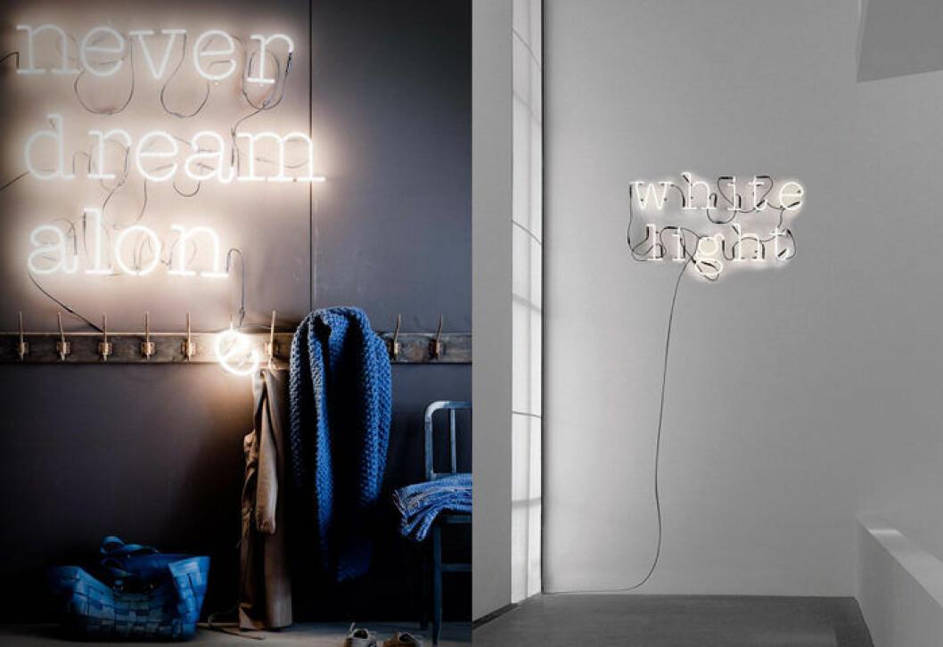 Neonlampa med text