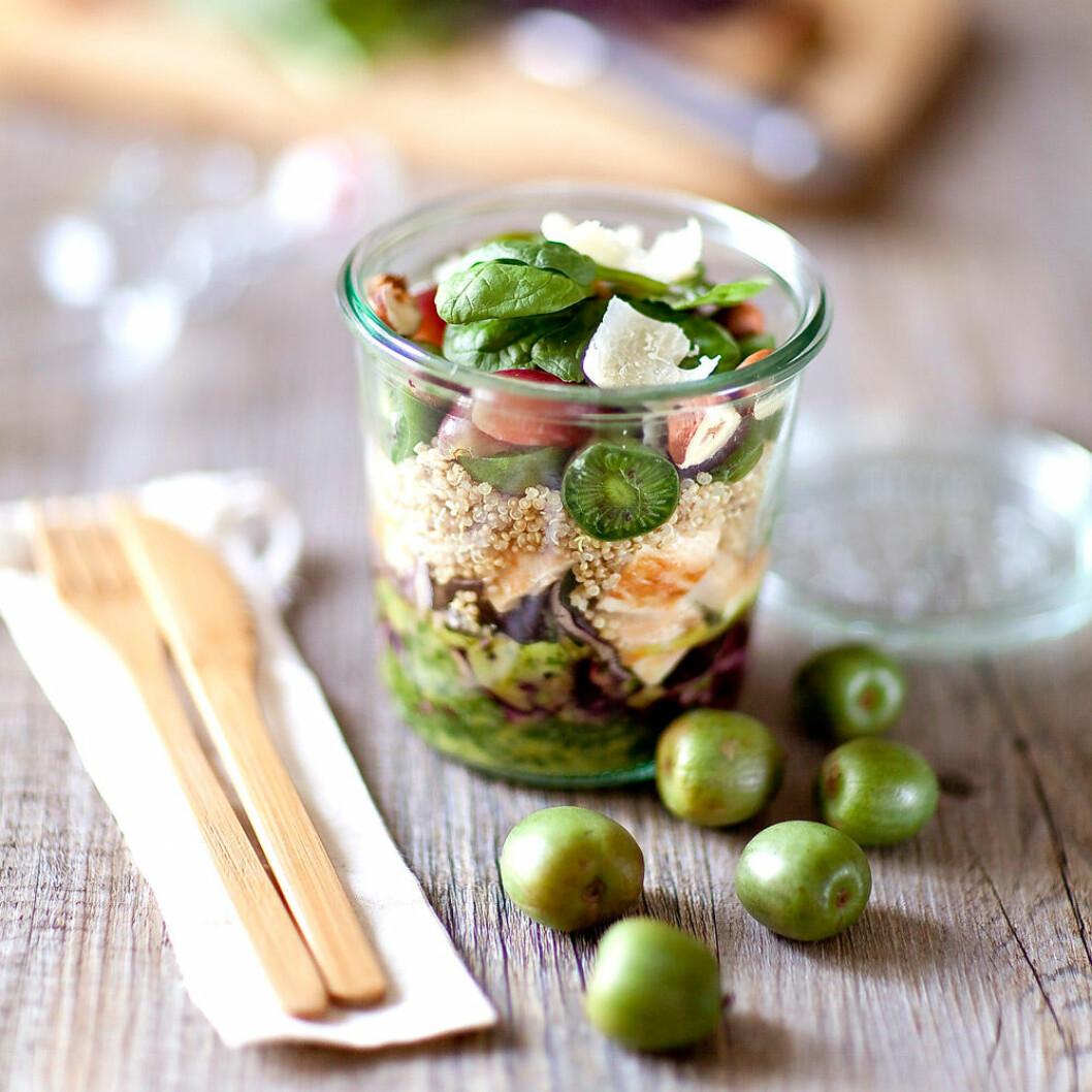 Sallad med nergi, spenat, quinoa, rödkål och kyckling.