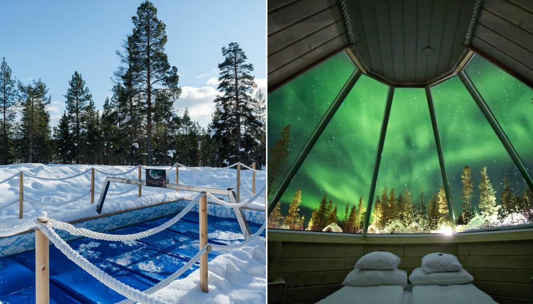 Isbad och norrsken genom fönster