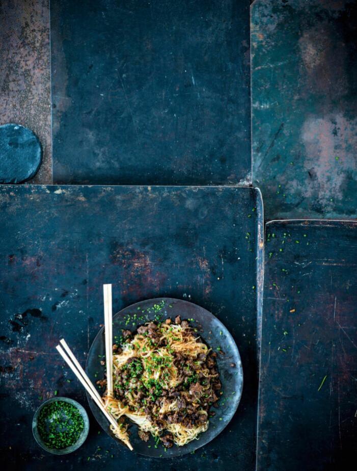 Recept på nudlar med kryddig vegofärs