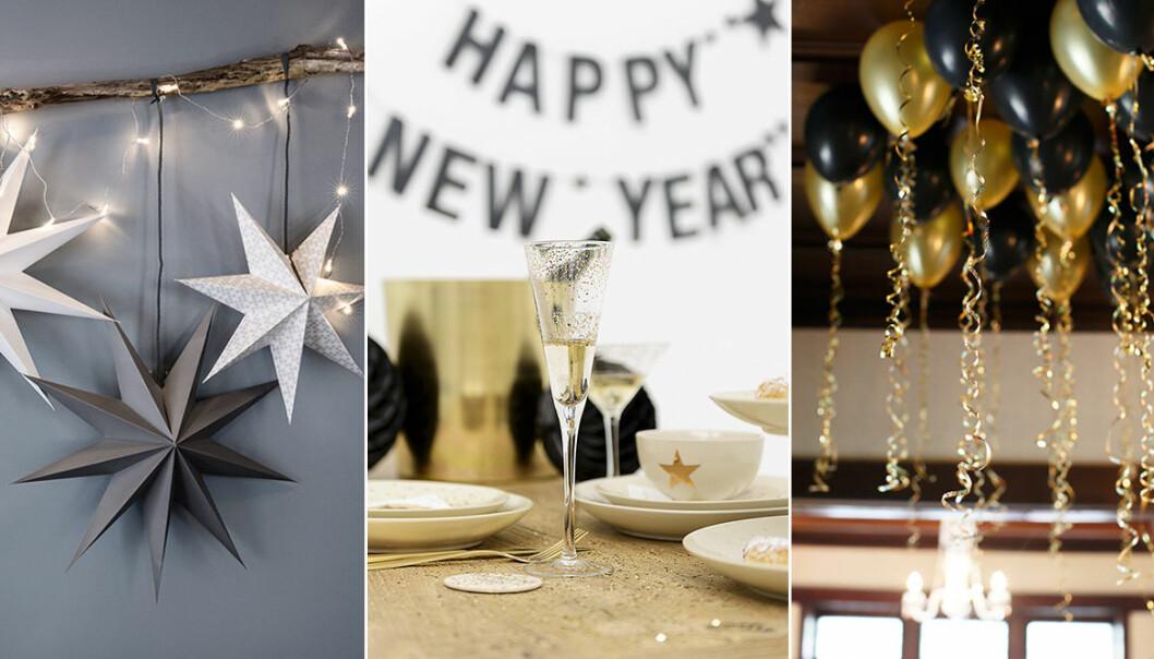 Dekorationer, pynt och dukningar till nyår och fest