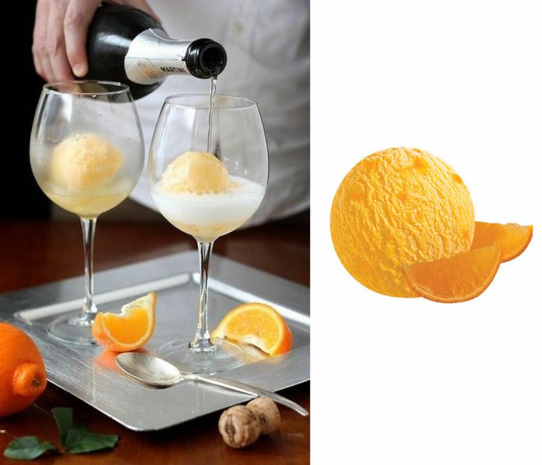 Iskall drink på champagne och sorbet.
