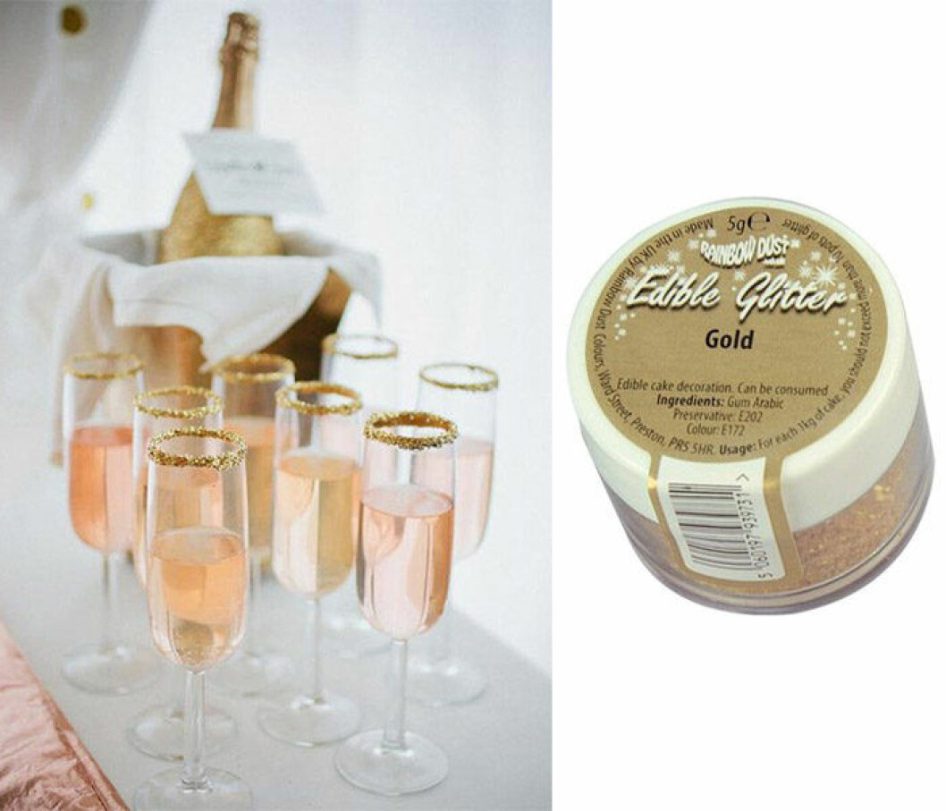 Champagne och ätbart guldglitter.