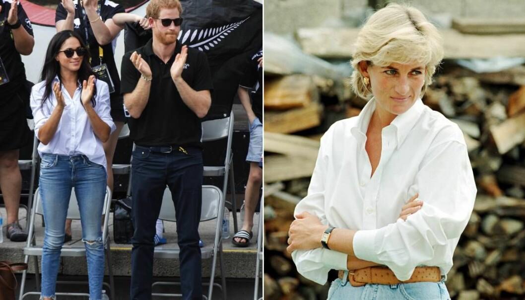 Meghan Markle och Diana i jeans och skjorta