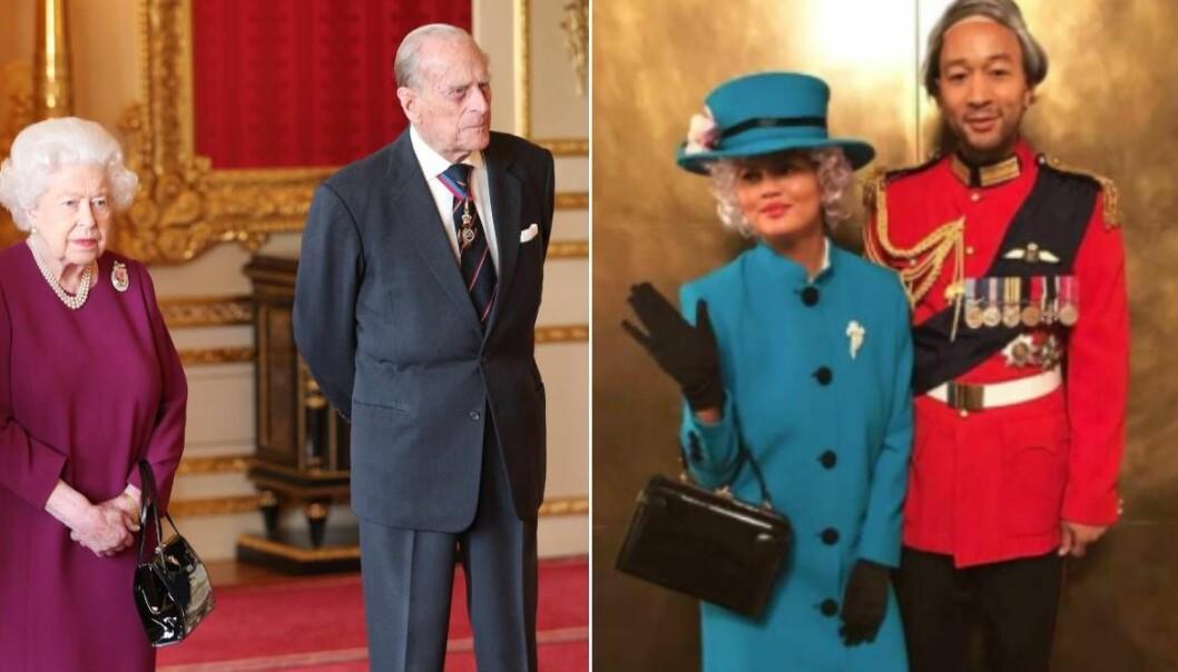 Chrissy Teigen och John Legend som drottning Elizabeth och prins Philip