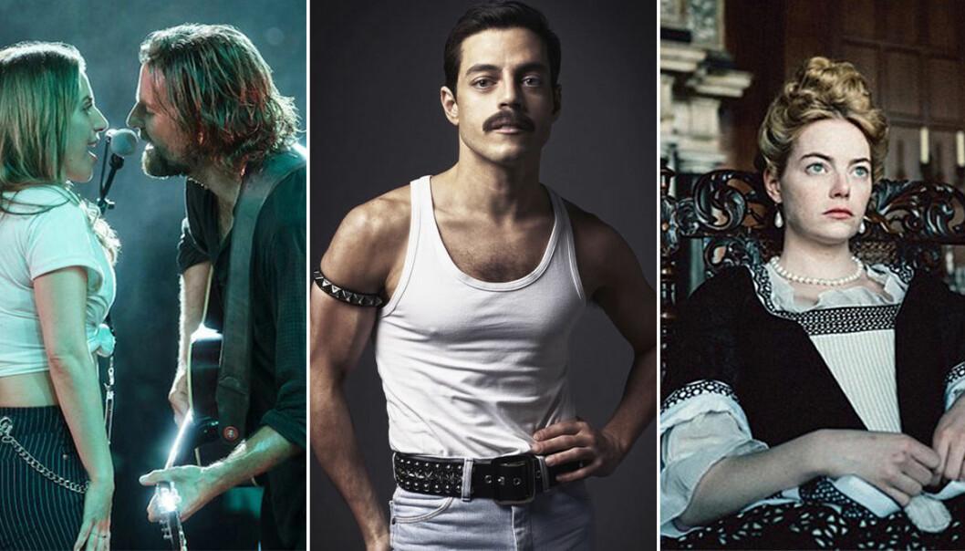 De tre nominerade filmerna på Oscargalan Bohemien, Rhapsody, A Star Is Born och The Favourite.