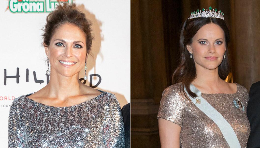 Madeleine och Sofia i glittriga klänningar
