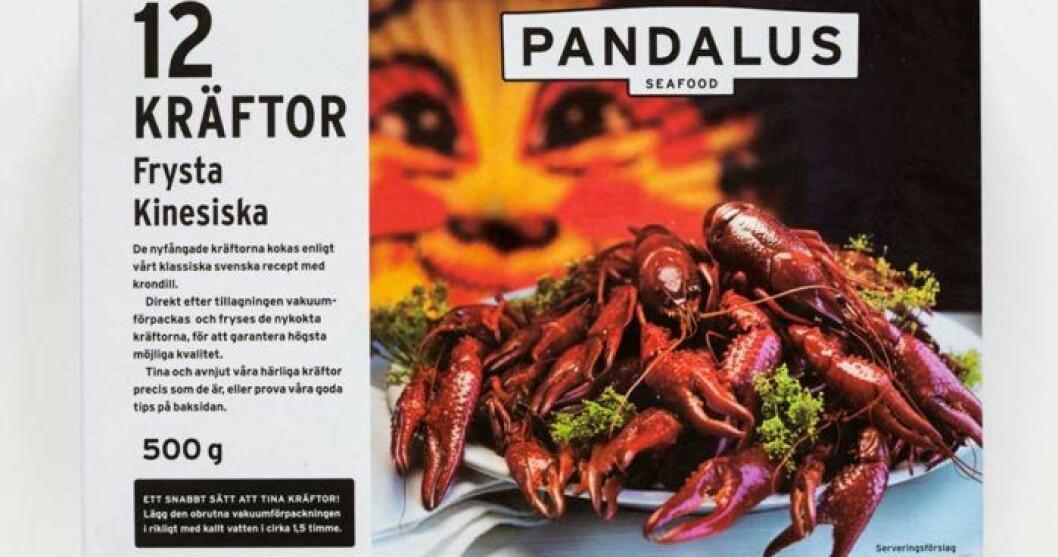 Pandalus frysta kräftor – Kina