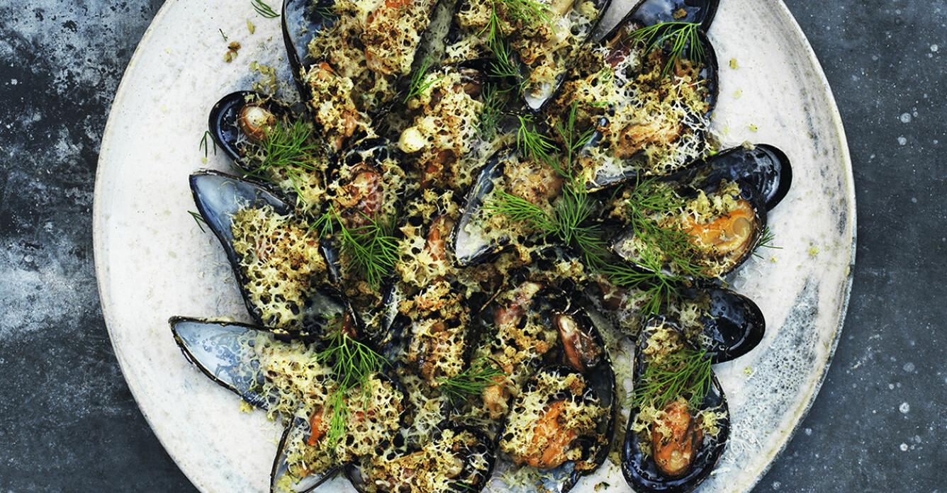 Recept på pankogratinerade blåmusslor