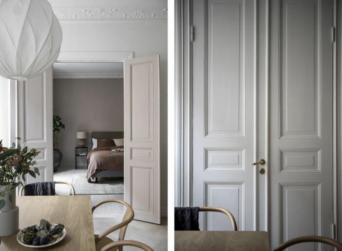 pardörrar till sovrummet i Angelica Blicks lägenhet