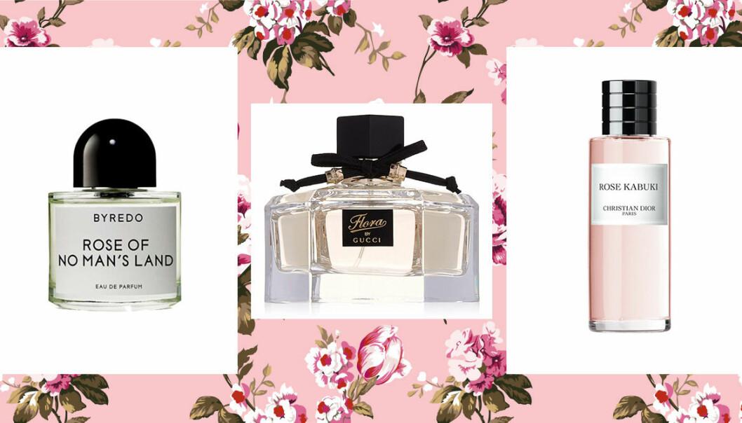 Tre parfymer som doftar rosor.