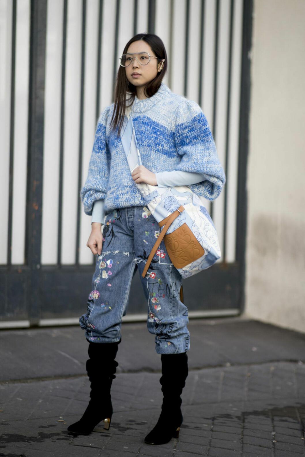 Streetstyle Paris FW, blå outfit.