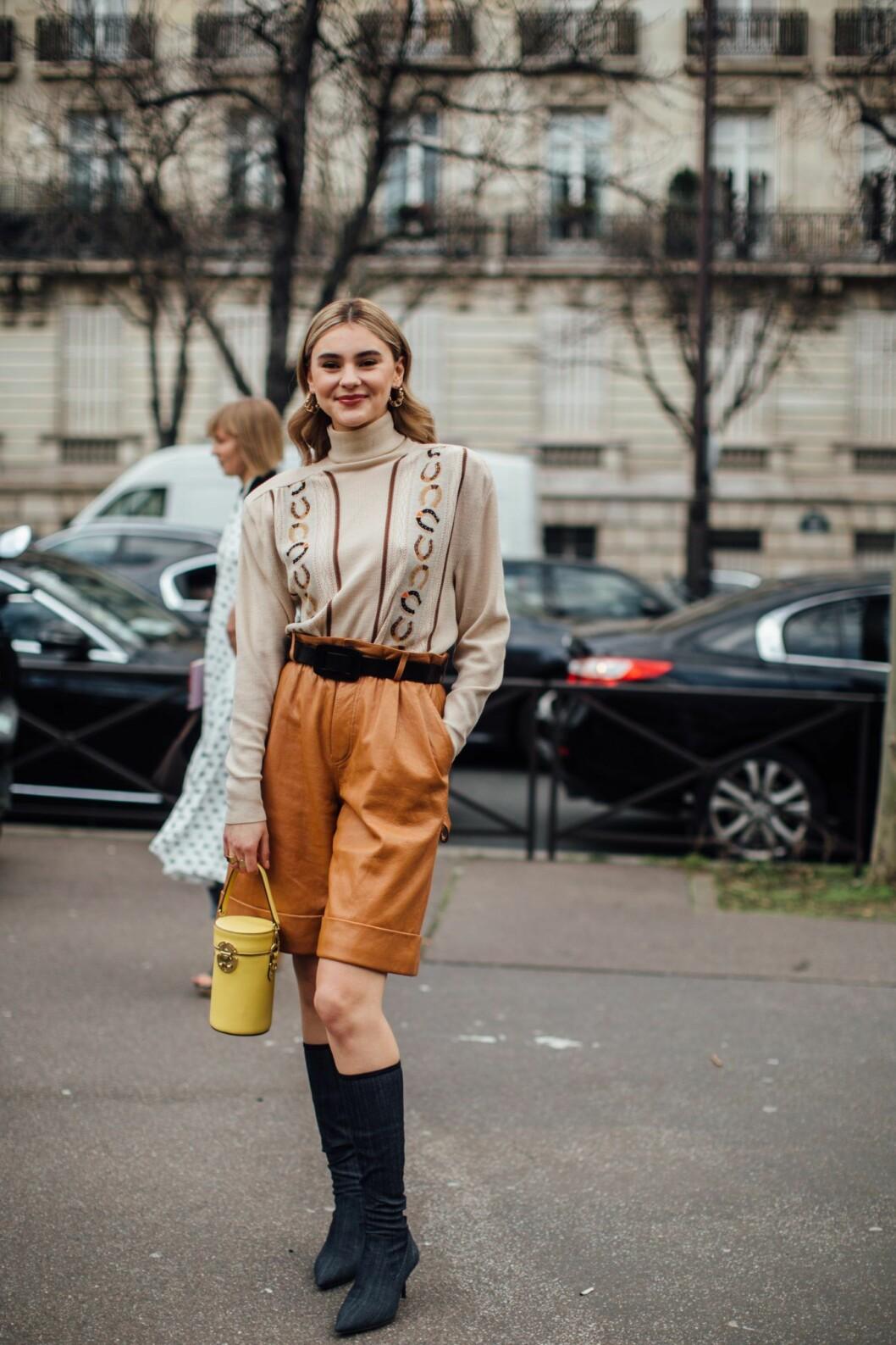 Beige shorts Paris fashion Week AW20.