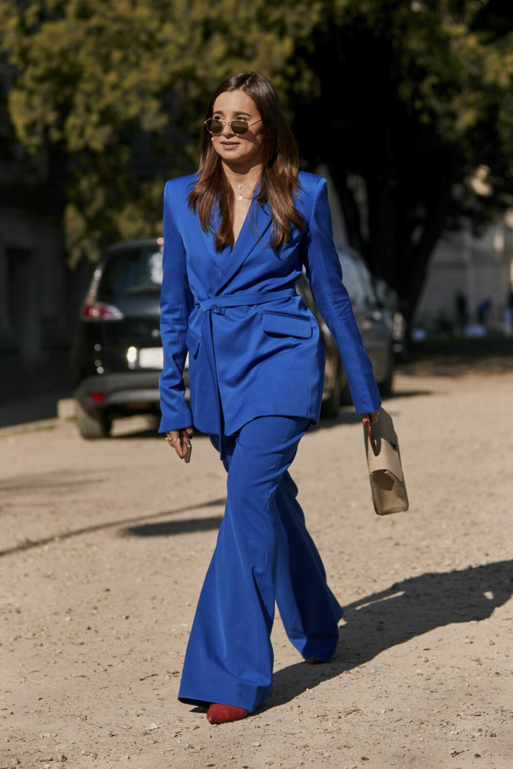 Streetstyle Paris FW, blå kostym.