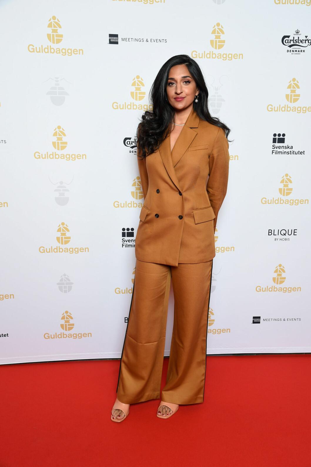 Parisa Amini på röda mattan på Guldbaggegalan 2020