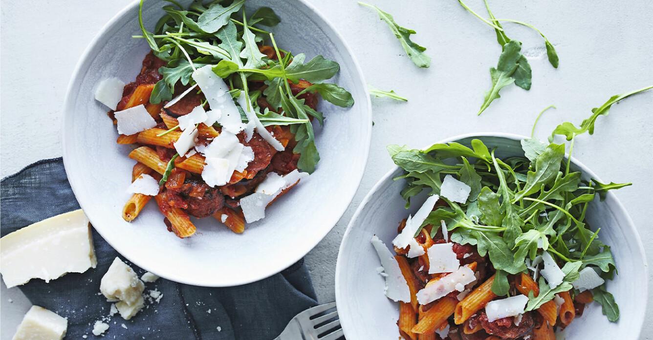 Recept på pasta med chorizo och tomat