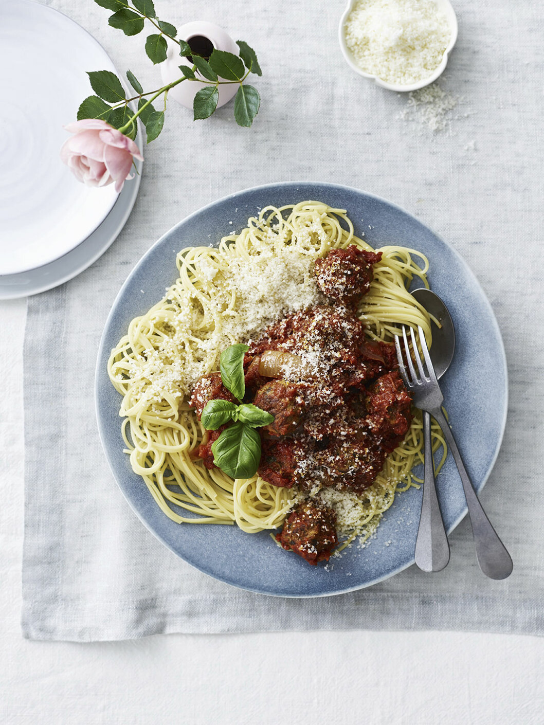 Recept pasta med vegobollar.