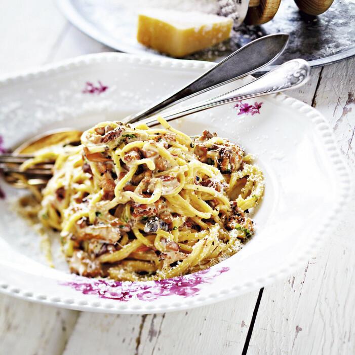 Recept på pasta med krämig svampsås