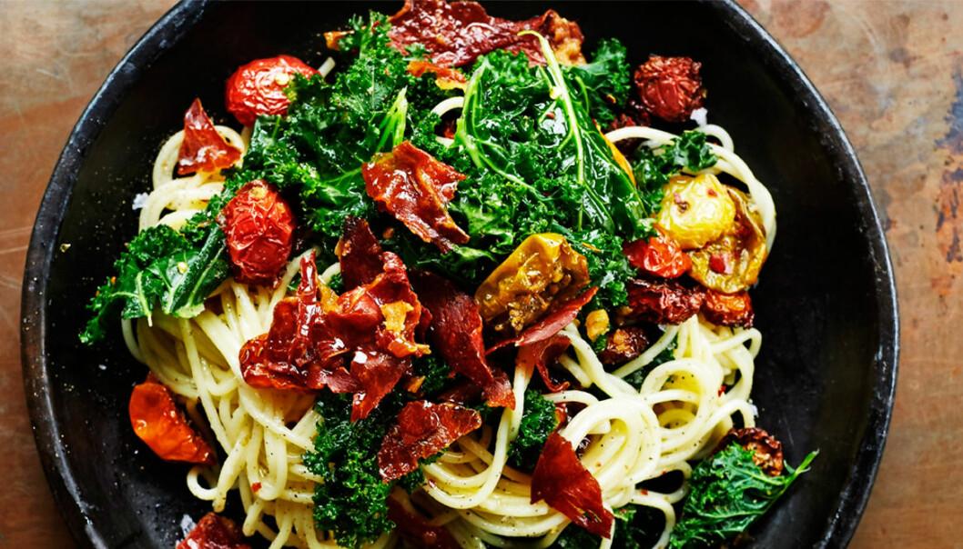 Recept på pasta med bakade tomater och parma