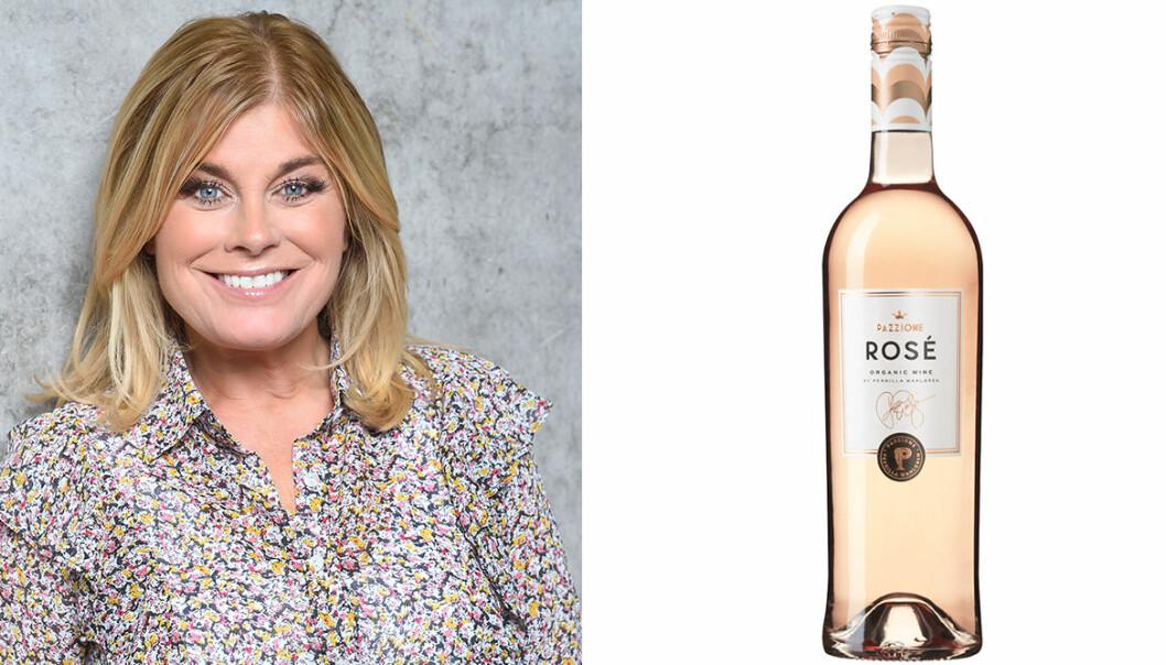 Pernilla Wahlgren och en flaska rose