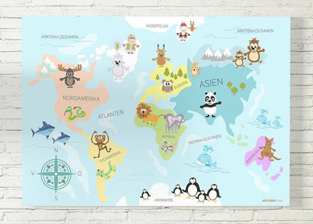 Världskarta till barnrummet från Art & design by Sara