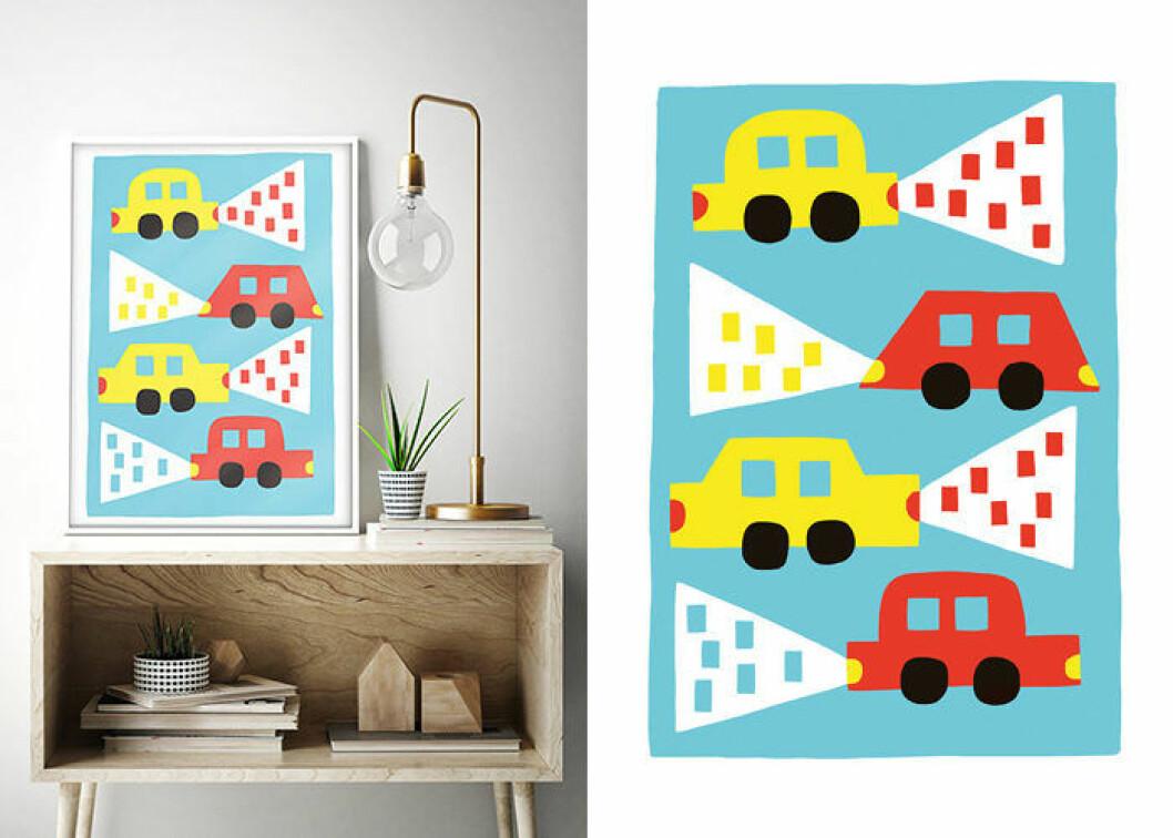 Poster till barnrummet med bilar från Walladore