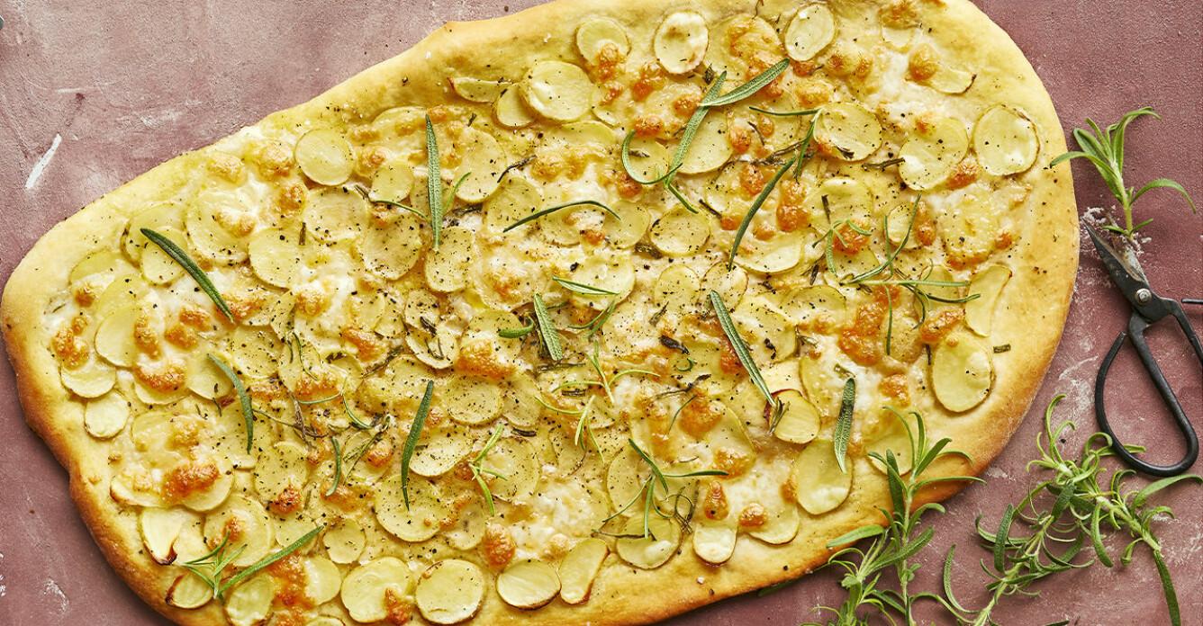 Recept på potatispizza med tryffelpesto