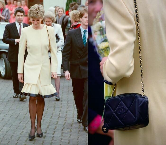 Prinsessan Diana i gul klänning och marinblå Chanelväska