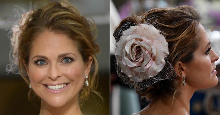 Prinsessan Madeleine vid prins Oscars dop i en slarvigt men snyggt uppsatt frisyr